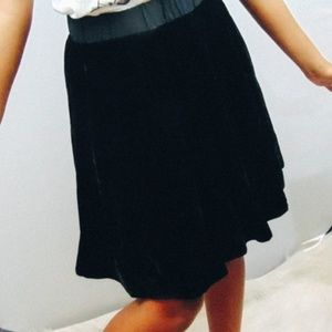 Anthropologie Odille Black velvet circle skirt